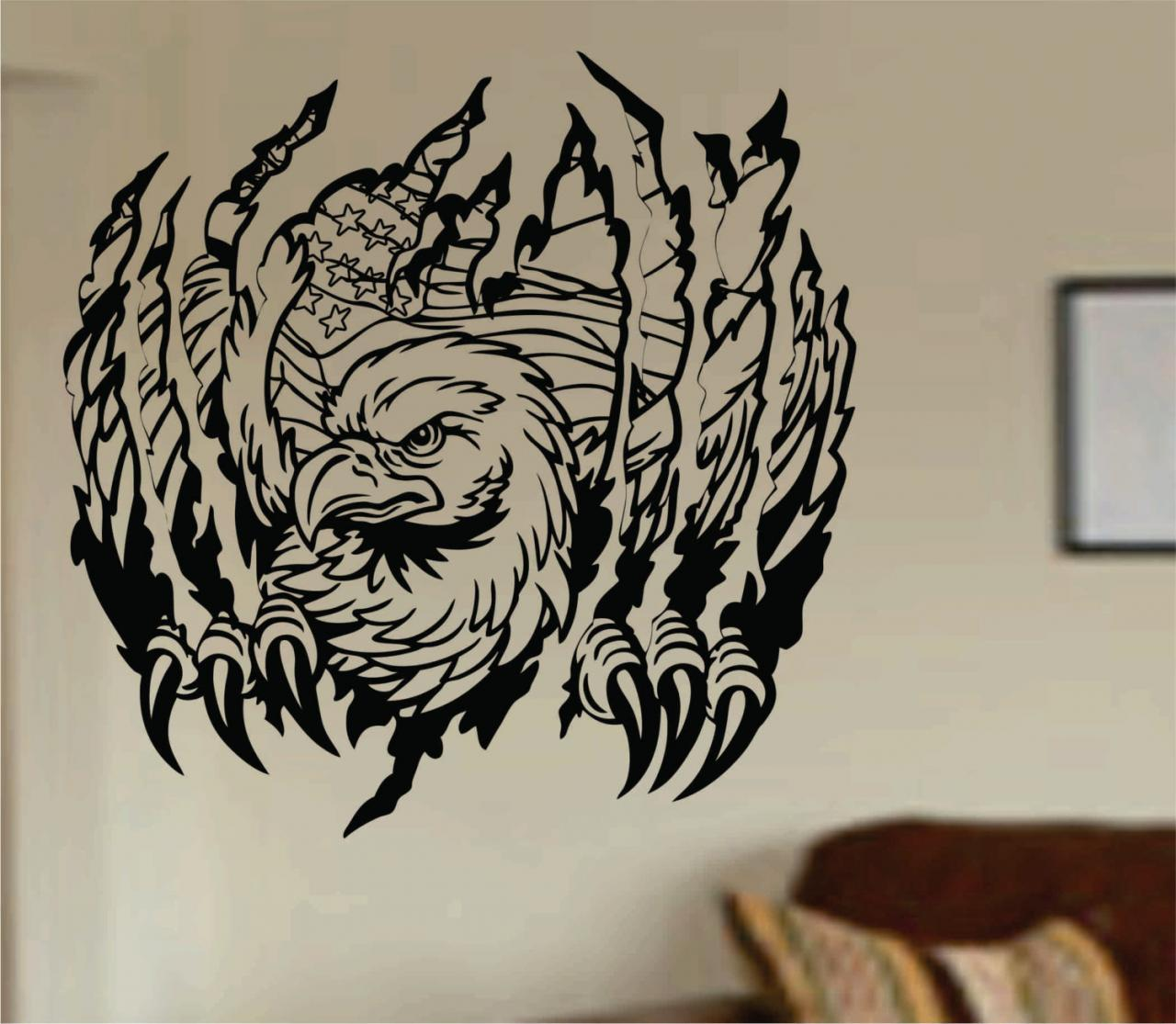 Eagle ripping thru wall mural decal sticker vinyl on luulla for Eagle wall mural